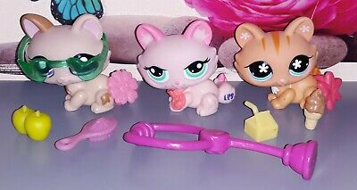 LOT authentic LPS 1584 1345 649 LITTLEST PETSHOP HASBRO CHAT CAT SPHYNX KITTY