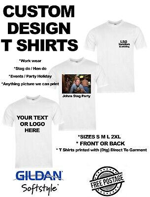 Personalised T shirt Custom Photo Image text design Logo Printing Stag Hen Party