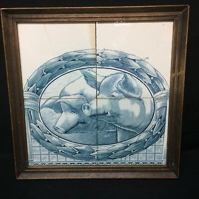 Rare Antique Delft Makkum Dutch Delft Tile Panel Plaque ~ 2 Swine Pigs
