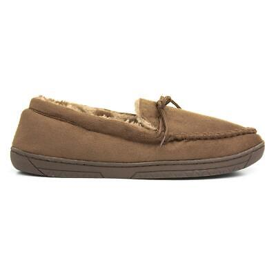Mens Tan Moccasin Slipper Faux Fur Lined Mens Slippers The Slipper Company