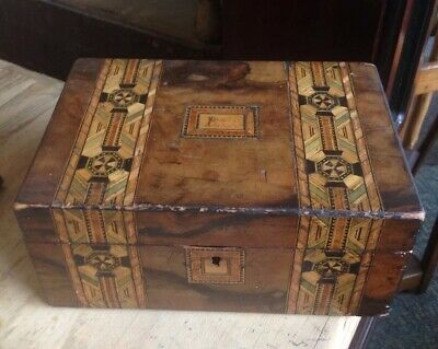 Antique Very Early Georgian/gothic Walnut Inlaid Jewellery Box,  Restoration Job