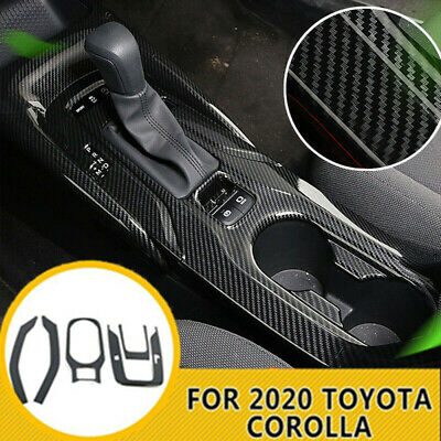 Inner Gear Panel Water Cup Holder Carbon Fiber Cover For Toyota Corolla 19-2020