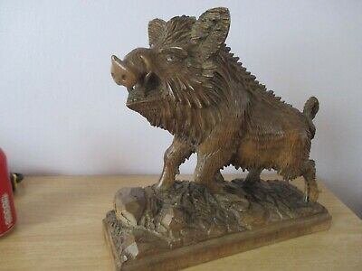 "Large 11"" Chunky Antique Black Forest Wild Boar Swiss Wood Carving"