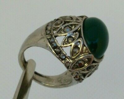 Rare Ancient Roman Metal Stone Green Ring Antique Authentic Very Stunning