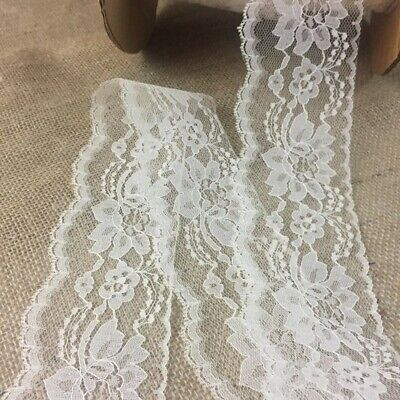 """Lily 1.75/"""" White Ruffled Gathered Raschel Lace Trim Sewing Notions Wholesale"""