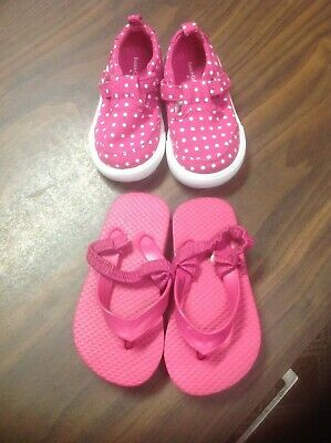 Lot of 2 Infant Toddler Baby Girls Shoes size 4 Faded Glory & Target EUC!