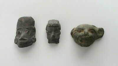 Pre-Columbian Pottery Heads, Maya, Group of 3