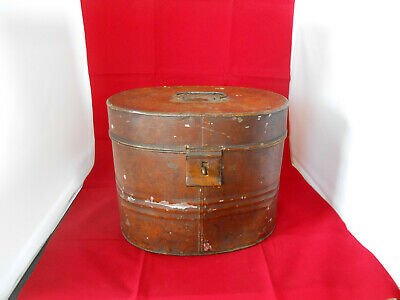 Vintage Antique Oval Tin Hat Box Brown Scrubbled.