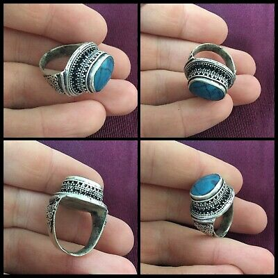 Near Eastern ancient style solid silver stone ring
