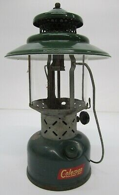 Vtg 1952 Coleman Model 228E Lantern Pyrex Glass Globe Green 2 Mantel As Is