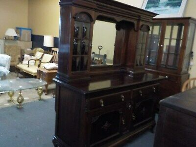 Back Bar Antique Great Condition Cherry Wood, Mirrored Cabinet