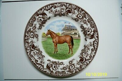 Spode Dinner Plate Thoroughbred Horses Woodland 10&1/2 in. S3422 No reserve