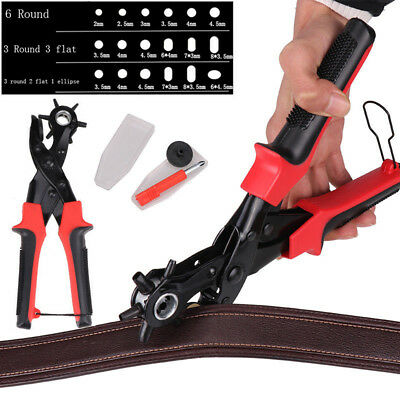 Leather Revolving Hole Punch Heavy Duty 6 Size Pliers Punch Belt Holes Tools