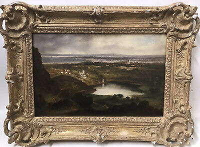 Antique Signed Hudson River School Panoramic Landscape Coastal Boat Oil Painting