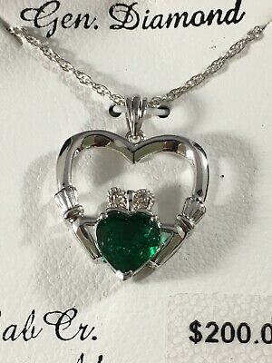 Lab-Created Emerald Diamond Accent Claddagh Pendant Necklace MSRP $200