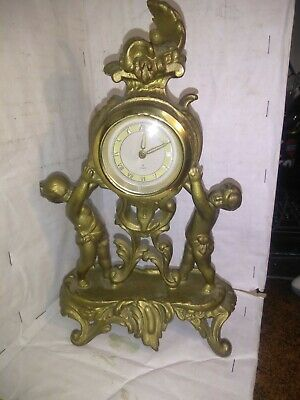 Vintage German 8 Day New Haven Cherub Rococo Style  Bronze Clock 10X6 WORKS