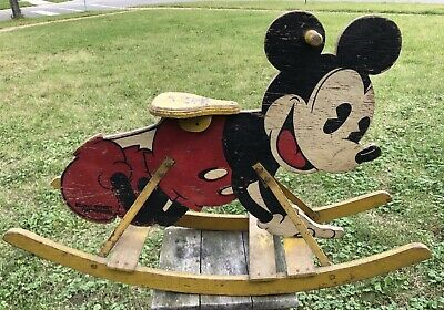 Rare Antique Disney Mickey Mouse  Rocking Chair Rocker Mengel Playthings 1930's