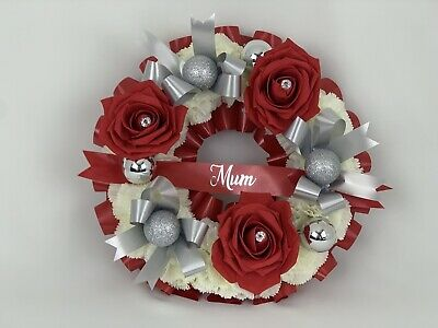 Silk Artificial Funeral Flowers Christmas red  Wreath Memorial Grave Tribute