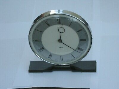 vintage smiths 8 day art deco style mantle clock chrome/black bakelite/plastic