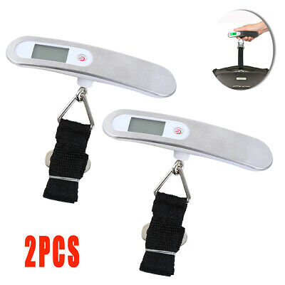 2Pcs Portable Travel Tare 110lb 50kg Hanging Digital Suitcase Luggage Scale