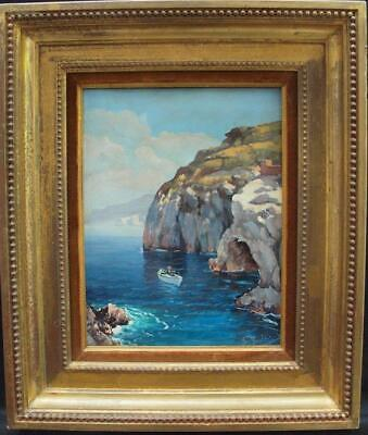 EARLY 20th Century NEAPOLITAN SCHOOL FISHING ROCKY COVE Antique Oil Painting