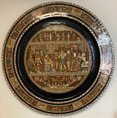 Giant Egyptian Josephs Story Carved Plate Rare Egyptian Inlayed Art Piece