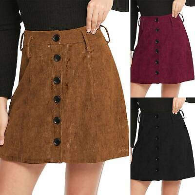 Women High Waisted Pencil Skirt Bodycon Button Winter Casual Short Mini Skirts