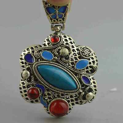 Collectable Handwork Decor Miao Silver Carve Flower Inlay Agate Exorcism Pendant