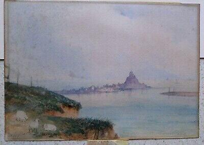 Watercolour of Lindisfarne Inscribed 'Holy Island Northumberland Initialed ANT