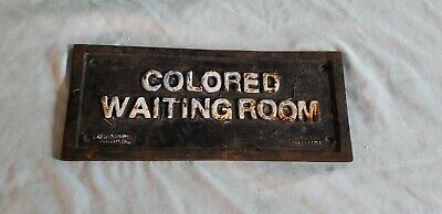 Vintage 1930s Cast Iron Colored Waiting Room Black Americana Segregation Sign
