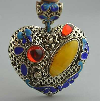 Old Collectable Handwork Miao Silver Carve Flower Inlay Agate Auspicious Pendant