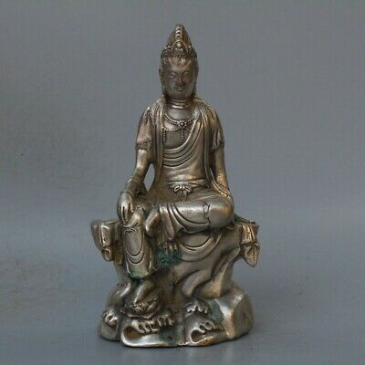 China Collectable Handwork Old Miao Silver Carve Kuan-Yin Buddha Exorcism Statue