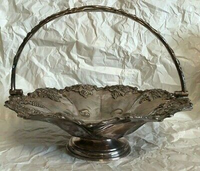Antique Silver Tone Basket With Handle