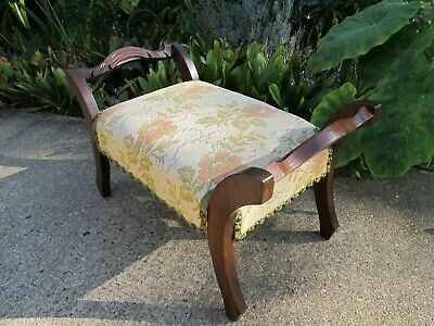 Antique Walnut Footstool with Double Outward Carved Handles