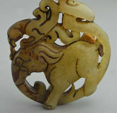 China Collectable Handwork Old Jade Carve Phoenix Ride Elephant Tibet Pendant