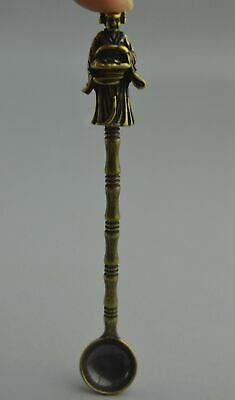 China Handwork Collectable old Copper Carve Wealth God Auspicious Spoon Statue