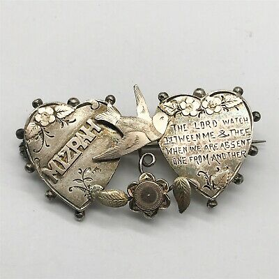 Antique Victorian Mizpah Sweetheart Love Solid Sterling Silver Ladies Pin Brooch