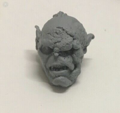 Custom modded Orc head hand-sculpted Fits Mythic Legion neck-post #12
