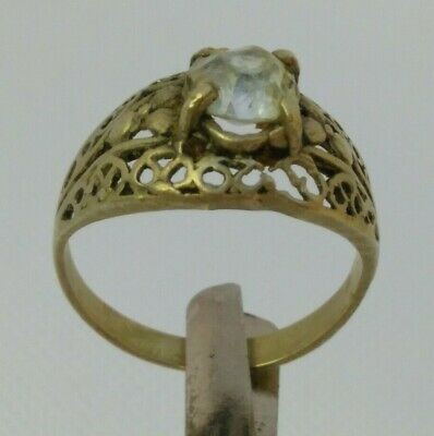 Extremely Rare Ancient Ring Roman Metal Color Silver Artifact with Stone White