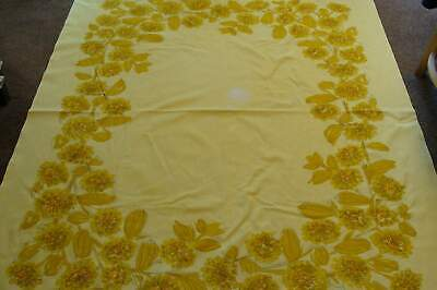 Vintage Vera Neumann Yellow Cotton Tablecloth~Gold Fruits & Flowers  As Is