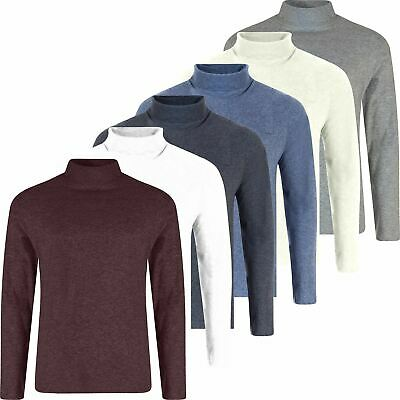 Mens Jersey Cotton Blend Turtle Roll Polo Neck Turtleneck Ski Golf Top New