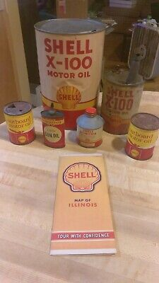 Shell Oil Can Lot X-100 5 Quart Outboard Winchester Map Gas Cone Top
