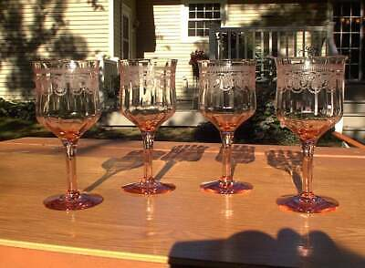 FOUR Antique Morgantown Morgana Pink Needle Etched Wine Stems Goblets Glasses EX
