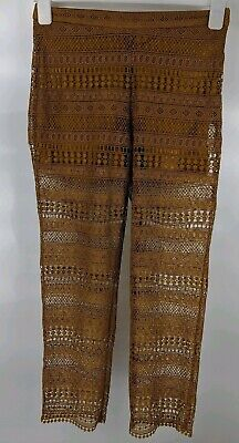 Zara Woman 8 Ochre Mustard Yellow Gold See Through Embroidered Summer Trousers