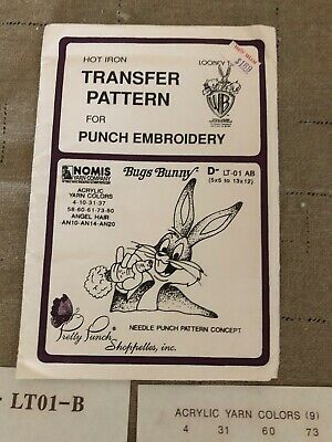 Nomis Yarn Company Looney Tunes Hot Iron Transfer For Punch Embroidery 1987
