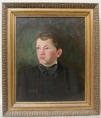 19Th Century Portrait Boy Man Male Mystery Signed Oil Early American Antique Art