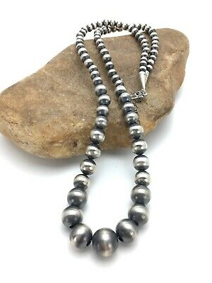"Native American Navajo Pearls 6mm Sterling Silver Bead Necklace 26/"" Sale  388"