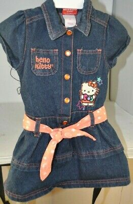 Hello Kitty Girls Blue Jean Dress Size 3T Embroidered Belt Snap Buttons