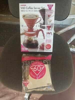 HARIO Made JAPAN Coffee POT Dripper + 100 Filter V60 02 drip Set Red VCSD-02R