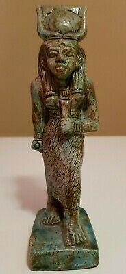 RARE ANCIENT EGYPTIAN ANTIQUES Statue Of Hathor Sky GODDESS Blue Glazed Stone BC